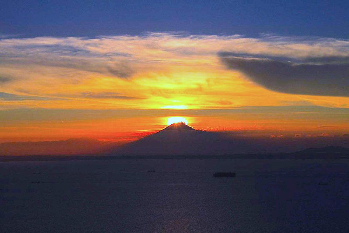 鋸山(富津市)でダイヤモンド富士を観賞