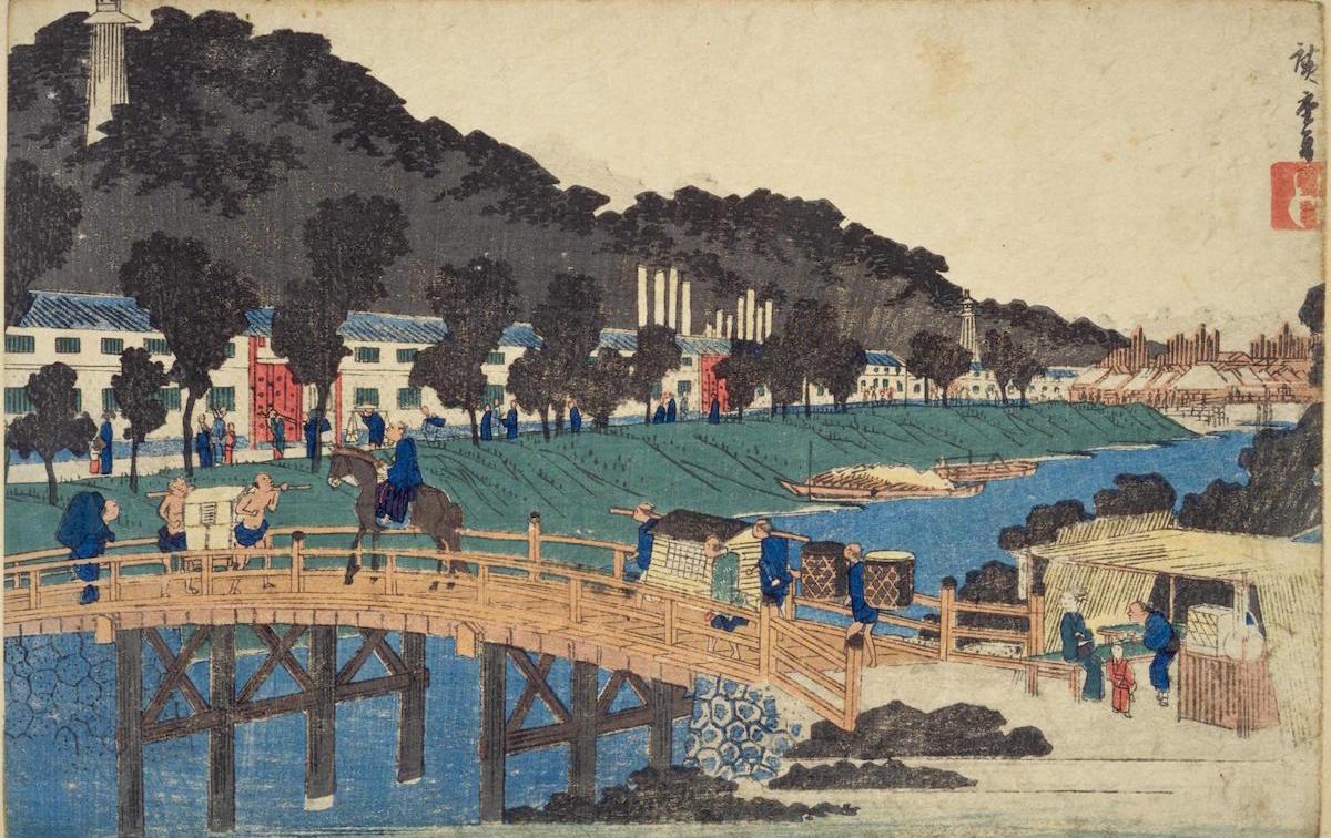赤羽根橋を渡ると久留米藩江戸上屋敷、有馬邸