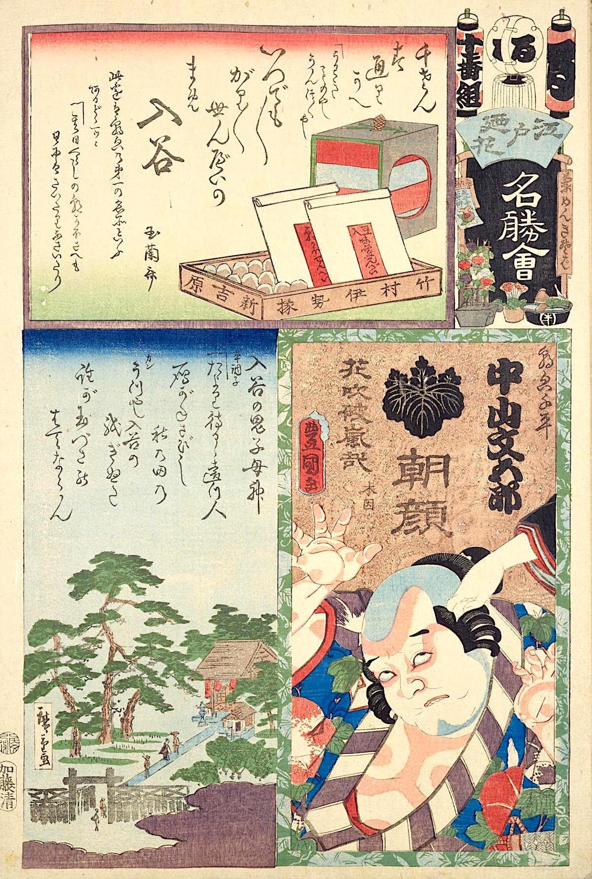 『江戸の花名勝会』る 十番組 中山文五郎、入谷の鬼子母神、入谷